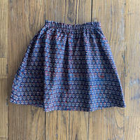 Hand Block Print Skirt #4 (Blue×Red Small Buta)