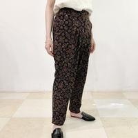 Hand Block Printed Pleated Tapered Pants (Black Ajrakh)