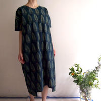 Hand Block Printed Comfy Dress ( Indigo Acanthus )