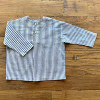 Hand Block Print Pullover Shirt #3 (Blue Stripe)