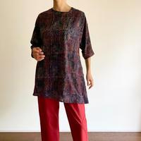 Hand Block Printed Asymmetry Tunic (Indigo & Red Wave Stripe)