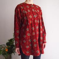 Hand Block Printed Fly Shirts ( Red Lotus Arabesque )