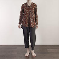 Hand Block Printed V neck Fly Blouse (Lotus Arabesque)