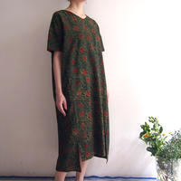 Hand Block Printed Comfy Dress ( Green Lotus Arabesque )