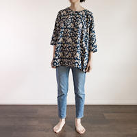 Hand Block Printed Bias Tunic (Blue Flower)