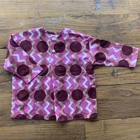 Hand Block Print Pullover Shirt #1 (Pink Circle)