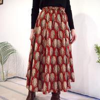 Hand Block Printed Mermaid Skirt ( Red Flower )