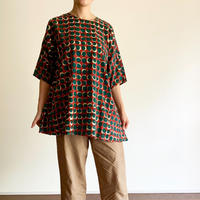 Hand Block Printed Asymmetry Tunic (Red & Green Moon)