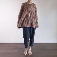 Hand Block Printed Bias Tunic (Red & Gray Stripe)