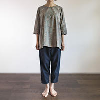 Hand Block Printed Bias Tunic (Gray Flower)