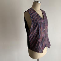 Hand Block Printed Classic Vest (Indigo  Dabu Stripe)