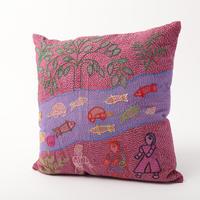 スージニ刺繍 クッションカバー 紫(魚)
