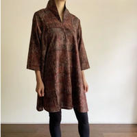 Hand Block Printed A Line Blouse (Red & Gray Wave Stripe)