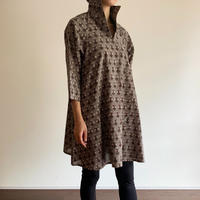 Hand Block Printed A Line Blouse (Gray Flower)