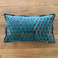 Hand Block Printed Cushion Cover 30*50 (Green & Black Flower)