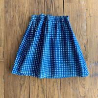 Hand Block Print Skirt #3 (Indigo Check)