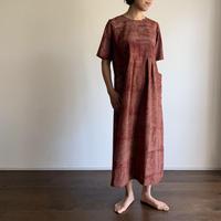 Hand Block Printed Stripe Maxi Dress (Red & Black)
