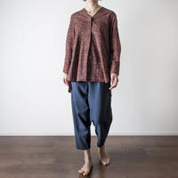 Hand Block Printed V neck Fly Blouse (Ajrakh Brown Star)