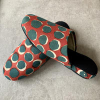 Hand Block Printed Slippers (Red & Green Dots)