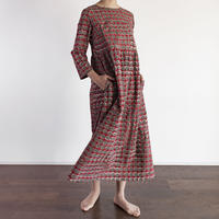 Hand Block Printed Dolly Maxi Dress (Red & Gray Dots)