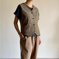 Hand Block Printed Classic Vest (Ajrakh Beige)