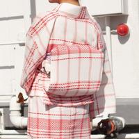 お太鼓作り帯 /カラミ織りチェック×レッド