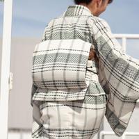 【サンプル販売!】お太鼓作り帯 / カラミ織りチェック×ブラック