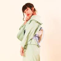 【サンプル販売!】10秒着物トップス / フリル×グリーン