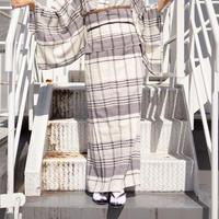 10秒着物スカート / カラミ織りチェック×ブラック