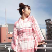 【サンプル販売!】10秒着物トップス / カラミ織りチェック×レッド