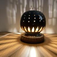 幻の須佐唐津焼 窯元製作陶器ランプ 黒 ストレート フィラメントLED