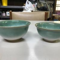 幻の須佐唐津焼 夫婦茶碗(緑、黒)