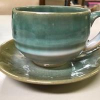 幻の須佐唐津焼 コーヒーカップ(緑、黒)