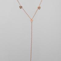 ハートチャームYネックレス pink gold