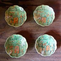 Naho Nishimoto  ネコの丸小皿 グリーン