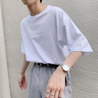 Do you like purple? GIDEAL.オリジナル刺繍Tシャツ(グレージュ)
