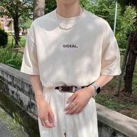 GIDEAL.21s/s 刺繍ロゴ刺繍Tシャツ【ベージュ】