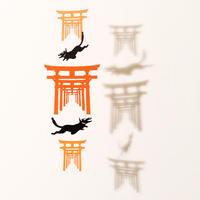 お稲荷さん三連朱「BLACK」#paper ornament