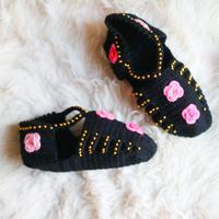 Hand knit Socks  Black