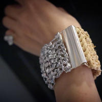 Silver&Raffia  Bangle