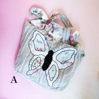 """""""The Magpie and the Wordrobe"""" Linen ticking Big butterfly bag"""