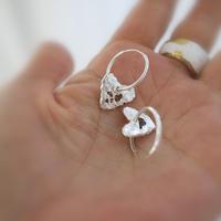 Silver sea glass heart hoops pierces