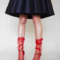 Pan &The Dream Red-backseam tulle socks