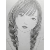 三成カナ 描き下ろし素描「みつあみ」