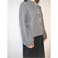 【日本製】ケーブルガーター編みワイドカーディガン(Whole Garment Knit)