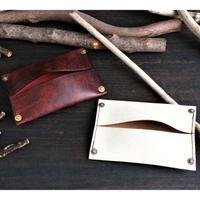 ポケットティッシュケース ※イタリアンレザー・Old Canyon(オールドキャニオン)革色レッド・ホワイト