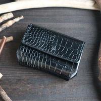 ミニウォレット(折れマチ仕様) ※イタリアンレザーLIPARI(リパリ) 革色ブラック