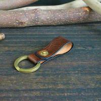 リベットキーホルダー ※イタリアンレザーCORFU(コルフ) 革色ダークブラウン