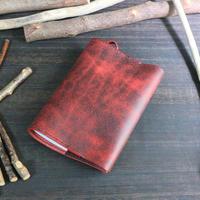 お薬手帳カバー ※イタリアンレザー・Old Canyon(オールドキャニオン)革色レッド