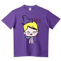 girlちゃんTシャツ(水玉スカーフのガール(紫))